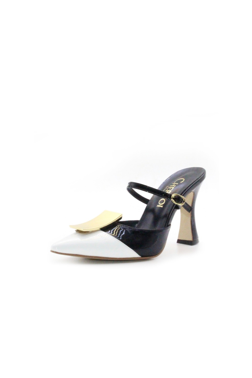 Antico Mule White/Black[ 5cm, 7cm, 9cm ]