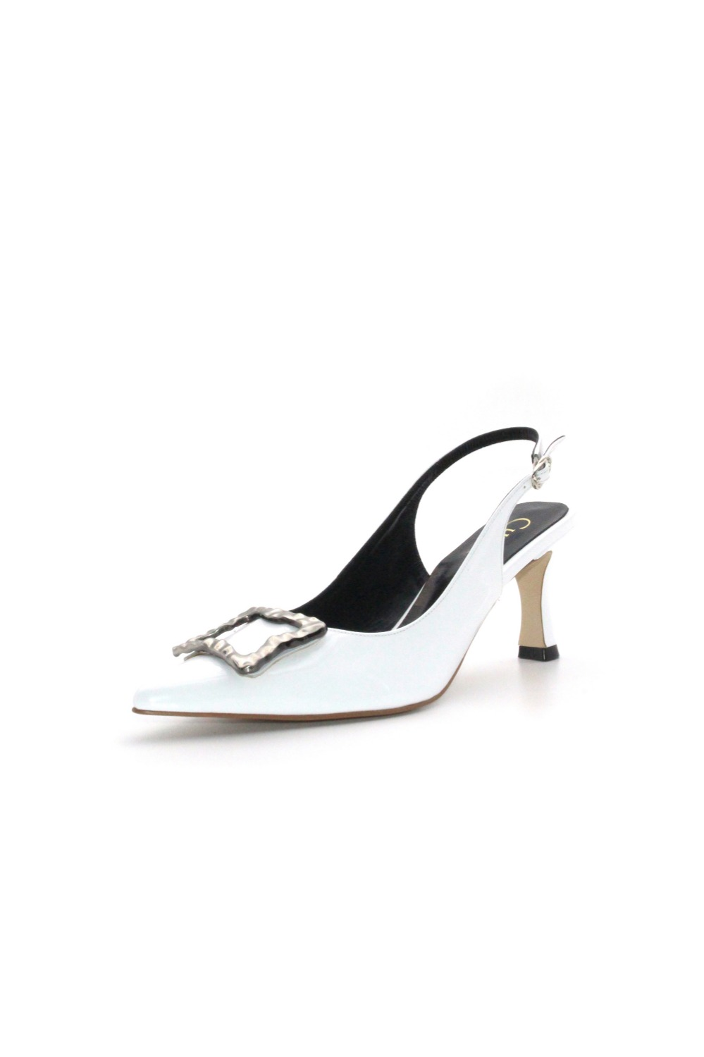 Selena Sling-back Chrome White [ 5cm, 7cm, 9cm ]