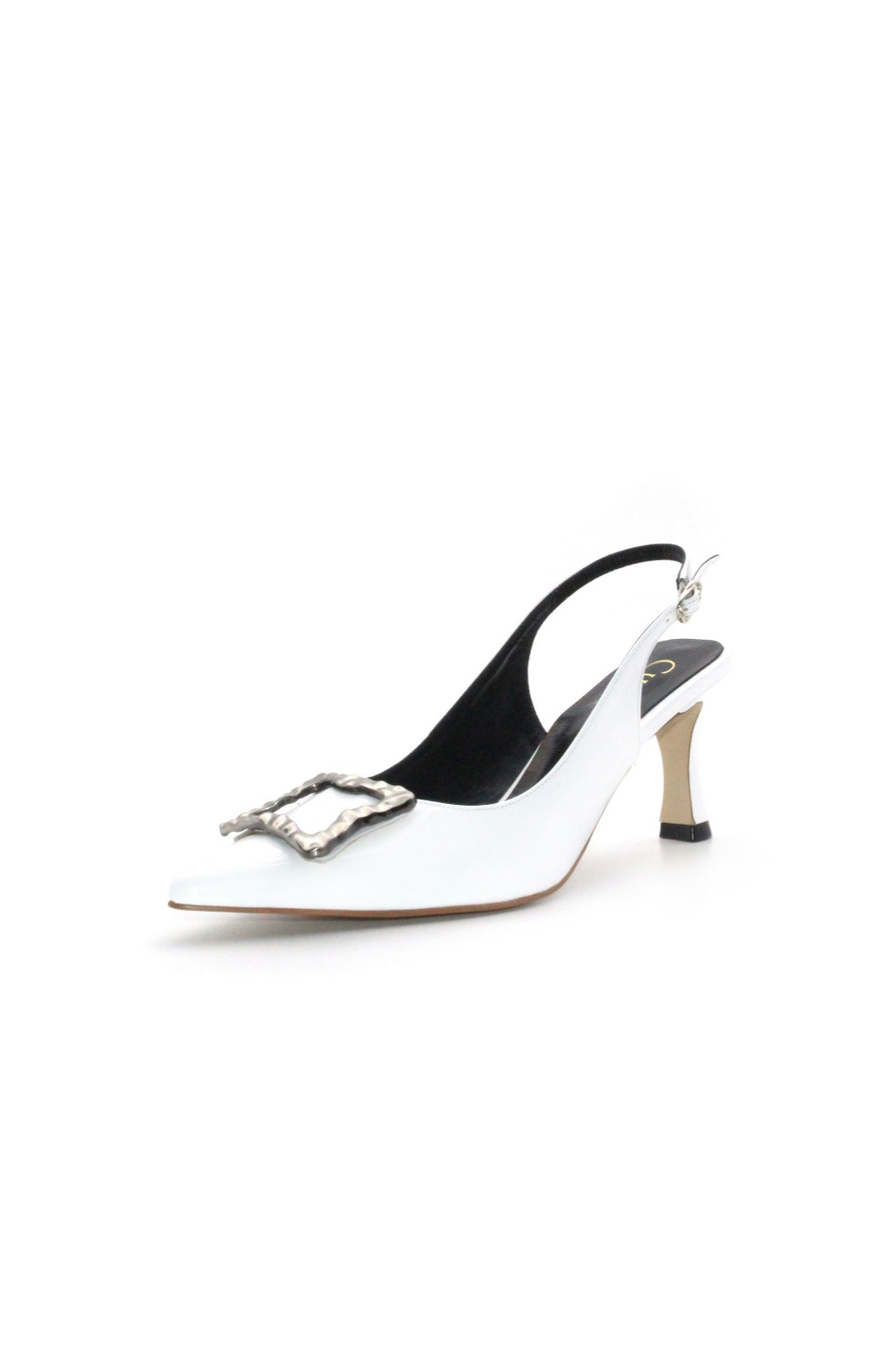 Selena Sling-back Chrome White