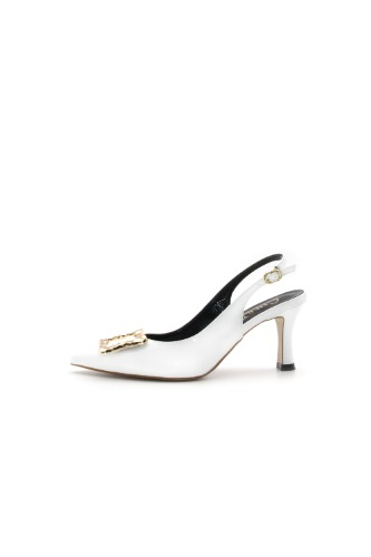 Selena Sling-back Gold White