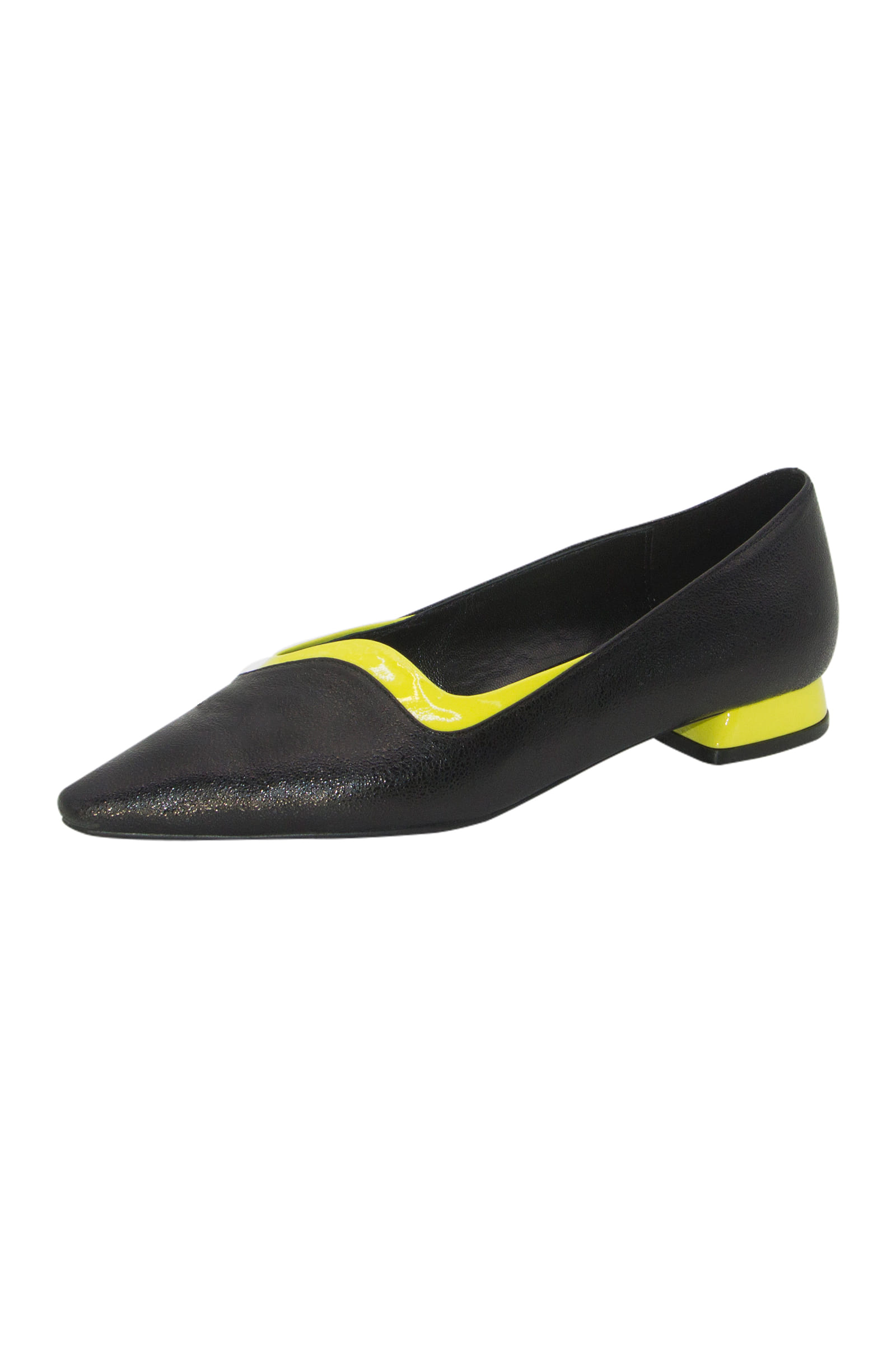 Wavy Layered Flats  Black&Lime